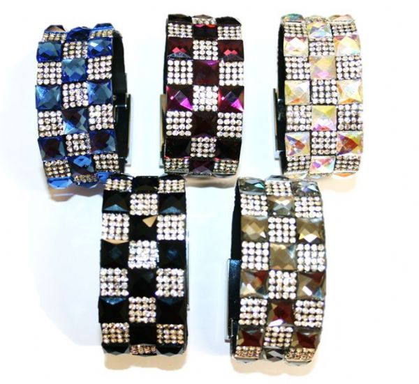 Diamante bling crystal cuff bracelet kits -- mixed colour 10mm faceted square glass + diamante stone